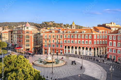 Poster Nice Aerial view of Place Massena square with red buildings and fountain in Nice, France
