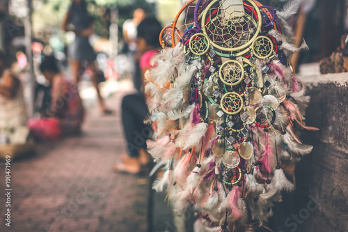 Photo sur Aluminium Style Boho Dreamcatcher in the street shop on Bali island, Ubud.