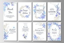 Set Of Card With Blue Wild Flo...
