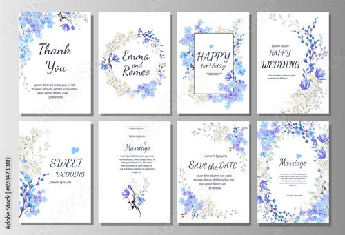 Foto  Satz der Karte mit blauen wilden Blumen, Blätter