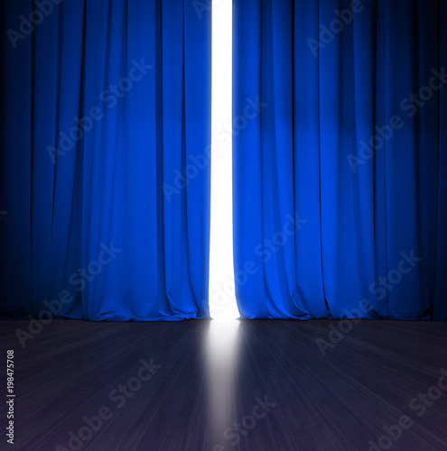 theater blue curtain slightly open with bright light behind and wood stage or scene
