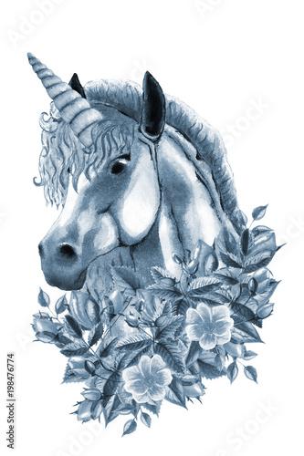 ilustracja-akwarela-jednorozca-recznie-rysowane-kon-dziki-kwiat-rozy-lisci