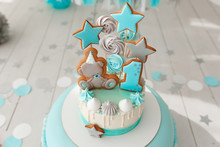 Baby Birthday Cake, Gingerbread And Bisquit Decor. Tiffany Color Background.