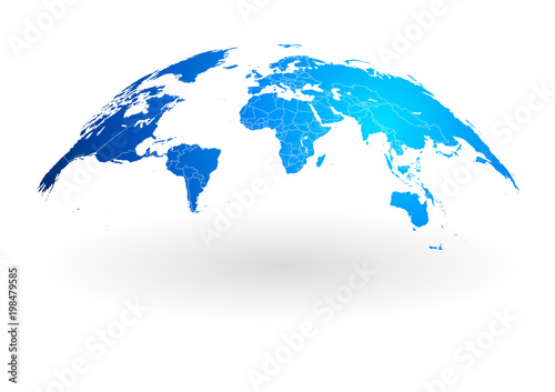 Obraz na plátně  blue world map globe isolated on white background