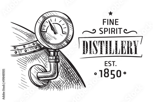 alembic still for making alcohol inside distillery, destilling spirits sketch Wallpaper Mural