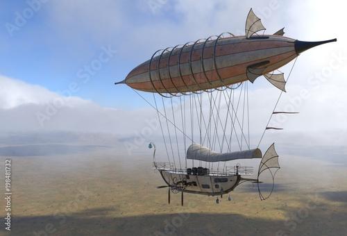 Fantasy Airship Zeppelin Dirigible Balloon 3D illustration Canvas