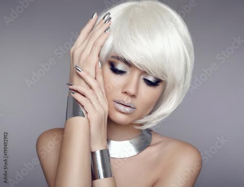 Glitter makeup. Bob hair. Beauty Portrait of blond model with short ...