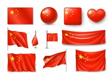 Set China Flags, Banners, Banners, Symbols, Flat Icon. Vector Illustration Of Collection Of National Symbols On Various Objects And State Signs