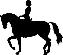 A Silhouette Of A Rider On A Horse Execute The Piaffe.
