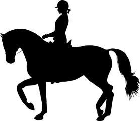 Fototapeta A silhouette of a rider on a horse execute the piaffe.