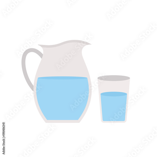 Fototapeta Jug icon isolated on white background. Water in glass. Vector stock. obraz