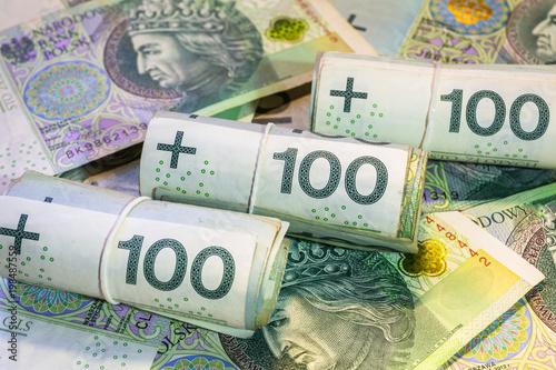 Cuadros en Lienzo Rolls of hundred zloty banknotes