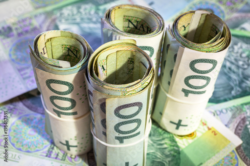 Fotomural Rolls of hundred zloty banknotes