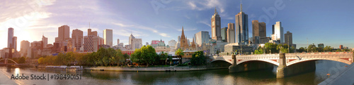 Melbourne, Australia - March 21, 2018:  Melbourne downtown panorama during sunset