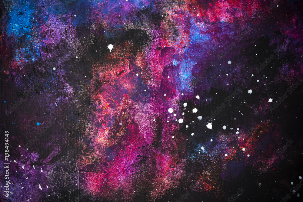 Fototapety, obrazy: Abstract background from colorful painted on wall look like a galaxy or night sky with star.  Picture for add text message. Backdrop for design art work.
