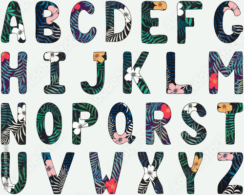 English alphabet. Capital letters. Hand drawn tropical font Fototapete
