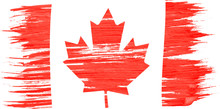 Art Brush Watercolor Painting Of Canadian Flag Blown In The Wind Isolated On White Background.