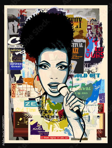 Deurstickers Art Studio Afro-american jazz singer on wallpaper