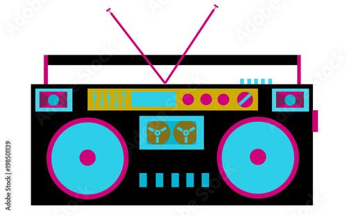 Fotografía Colorful, bright, retro audio tape recorder