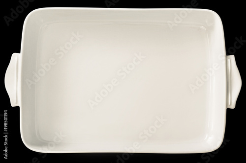 Large White Ceramic Oblong Rectangular Baking Pan Isolated On Black Background