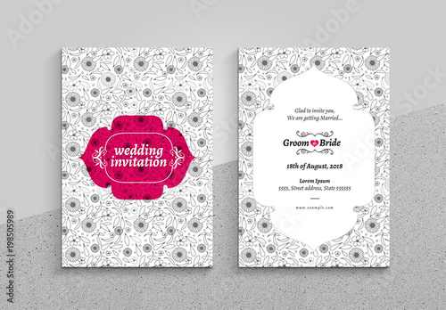 Buy Wedding Invitations Online Uk: Wedding Invitation Card Layout With Floral Pattern. Buy
