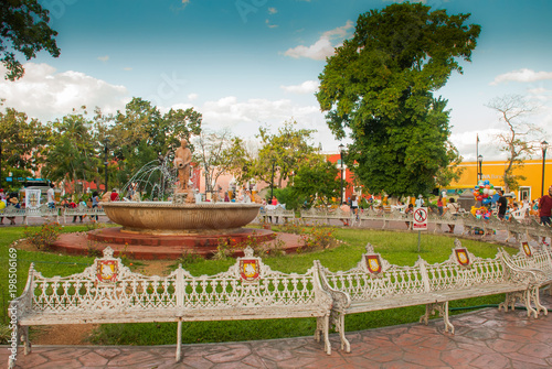 Fountain and main plaza - Valladolid, Mexico, Yucatan
