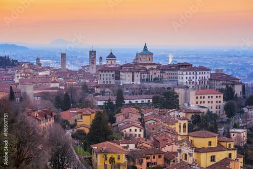 Foto auf Gartenposter Nordlicht Bergamo Old Town, Lombardy, Italy, in dramatic sunrise light