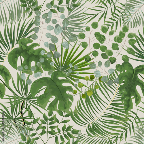 seamless pattern of green leaves. green tropical background in watercolor style. Vector natural, Botanical, elegant pattern. #198508166