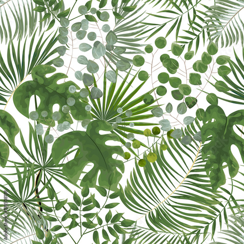 seamless pattern of green leaves. green tropical background in watercolor style. Vector natural, Botanical, elegant pattern. #198508188