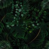 wzór zielonych liści. zielone tło tropikalny w stylu przypominającym akwarele. Wektor naturalny, botaniczny, elegancki wzór. - 198508399