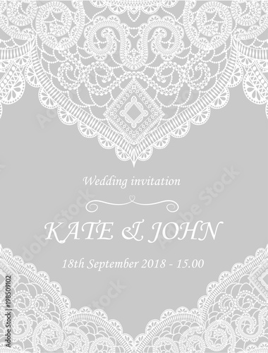Valokuva  wedding invitation with lace