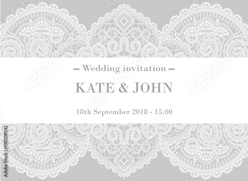 wedding invitation with lace Fototapete