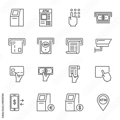 Obraz na plátne ATM set of vector icons outline style