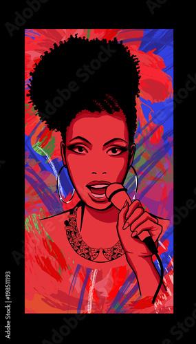 Tuinposter Art Studio Afro-american jazz singer on wallpaper