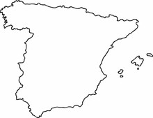 Freehand Spain Map Sketch On W...