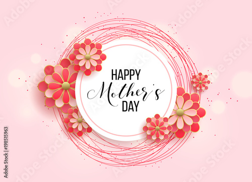 Obraz Happy mother's day layout design with roses, lettering, ribbon, frame, dotted background. Vector illustration. Best mom / mum ever cute feminine design for menu, flyer, card, invitation. - fototapety do salonu