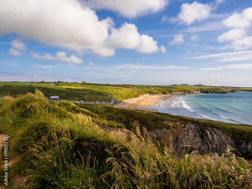 Beautiful golden sands and rocky coves at Whitesands Bay, St Davids Peninsular, Canvas Print