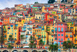 Leinwanddruck Bild - Colorful houses in old part of Menton, French Riviera, France