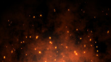 Burning Red Hot Sparks Rise From Large Fire In The Night Sky. Beautiful Abstract Background On The Theme Of Fire, Light And Life. Fiery Orange Glowing Flying Particles Over Black Background In 4k