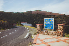 French Border Road Sign With E...