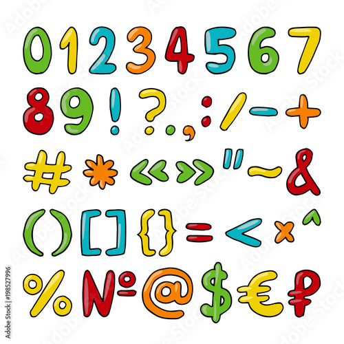 Fotografie, Obraz  Vector hand drawn set of numbers, punctuation marks and special symbols