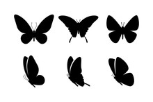 Black Butterflies Collection. Silhouettes, Isolated On White Background. Vector Illustration.