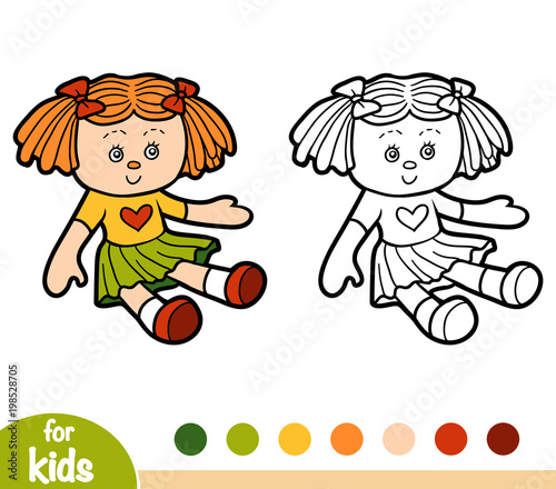 Coloring book for children, Doll Poster Mural XXL