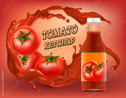 Vector 3d realistic poster of ketchup in plastic or glass bottle with splashing of shredded tomato, fresh vegetables Canvas Print