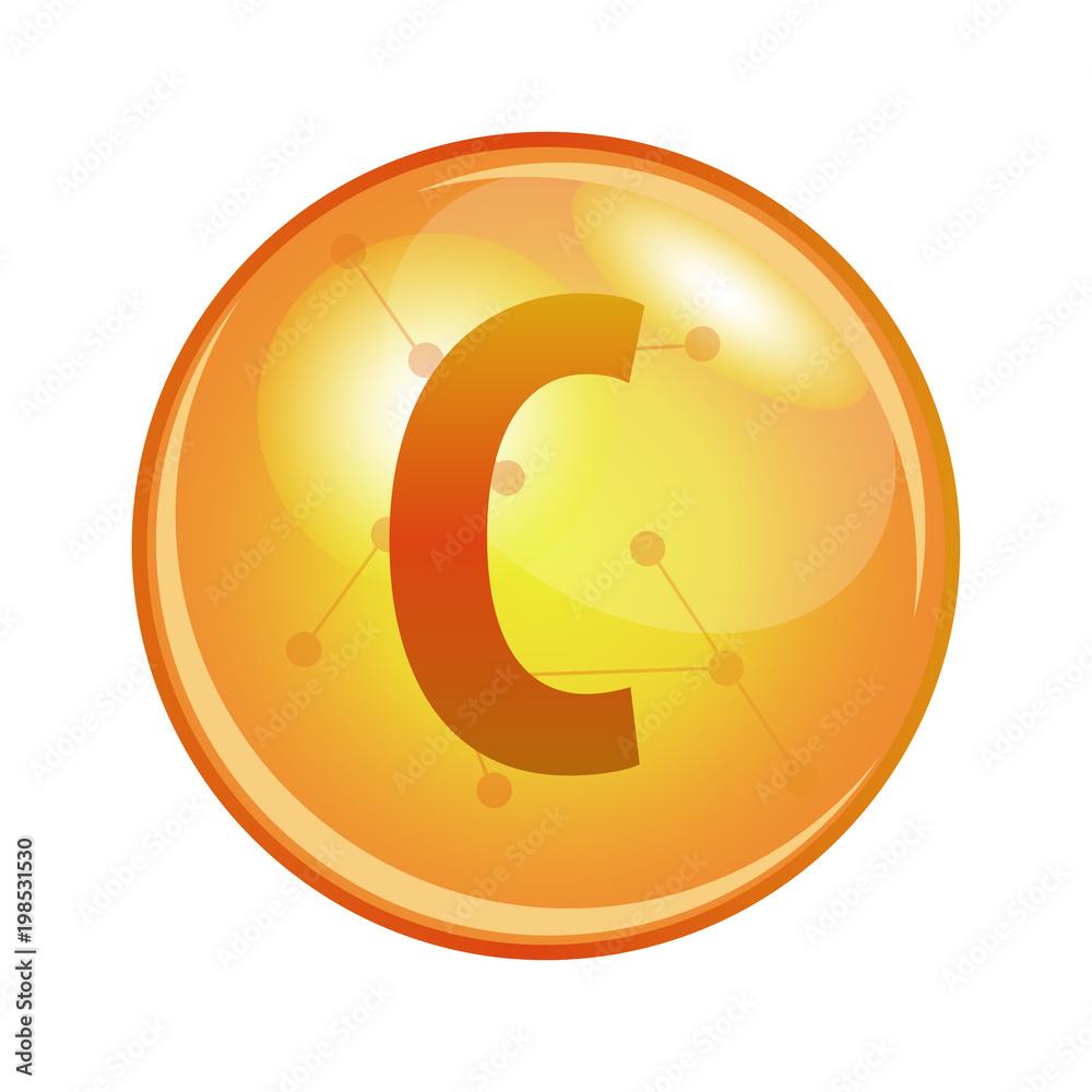 Fototapeta Vitamin C capsule - ascorbic acid. Vector icon for health. Gold shining pill.