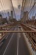 Traffic crossing the Brooklyn Bridge in New York City