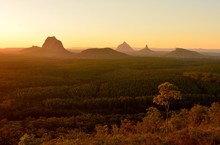 Glass House Mountains At Sunset In Queensland, Australia.
