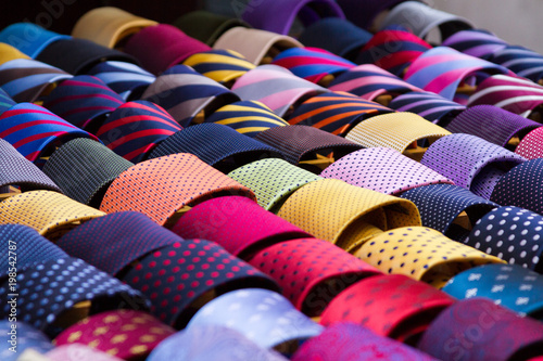 Fotografie, Obraz  Colourful neck ties displayed at a shop