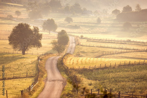 Honey Beautiful Rural Village Landscape with Road at Morning