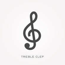 Silhouette Icon Treble Clef